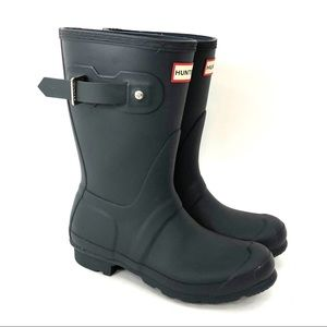 Hunter Gray Buckle Rubber Rain Boots Size 6